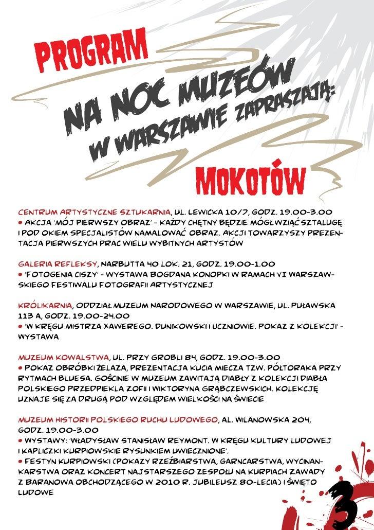 Program Nocy Muzeów w Warszawie (2010) Slide 3