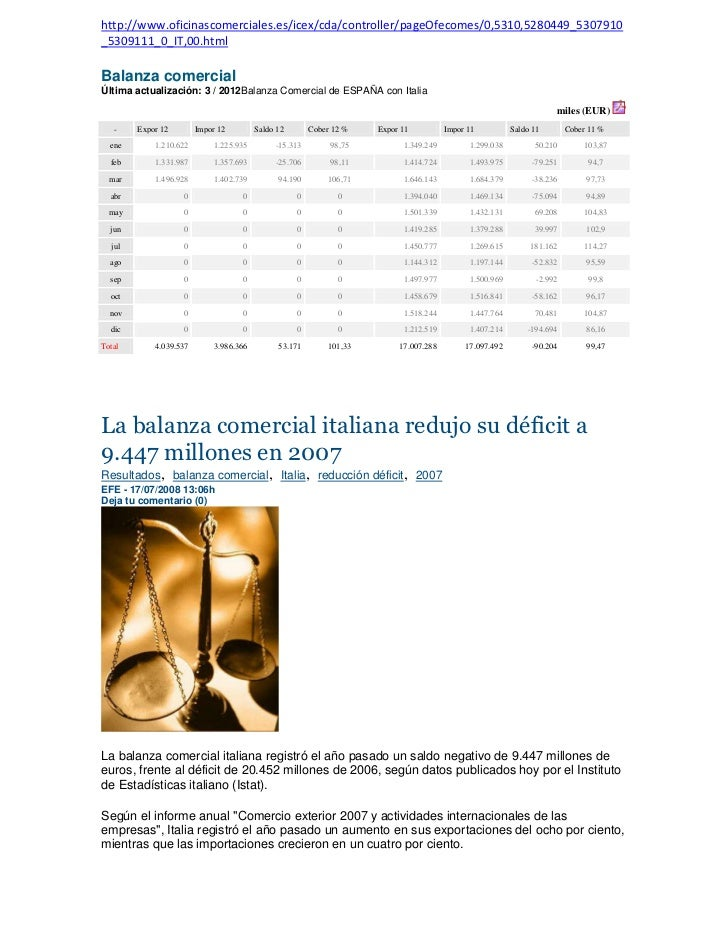http://www.oficinascomerciales.es/icex/cda/controller/pageOfecomes/0,5310,5280449_5307910_5309111_0_IT,00.htmlBalanza come...
