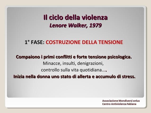 Il ciclo della violenzaIl ciclo della violenza Lenore Walker, 1979Lenore Walker, 1979 2° FASE: SCOPPIO DELLA VIOLENZA In q...