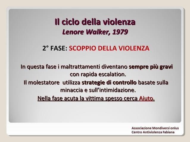 Il ciclo della violenzaIl ciclo della violenza Lenore Walker, 1979Lenore Walker, 1979 3° FASE: LUNA DI MIELE Il violento è...