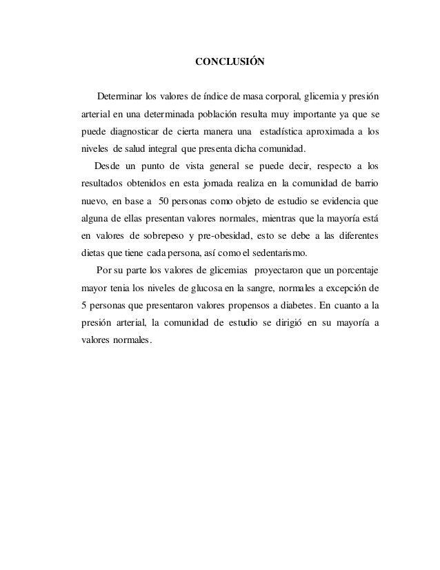 Informe de Medición de IMC, Glicemia y presión arterial