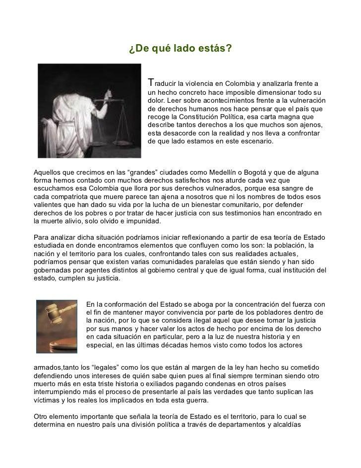 ¿De qué lado estás?                                     Traducir la violencia en Colombia y analizarla frente a           ...
