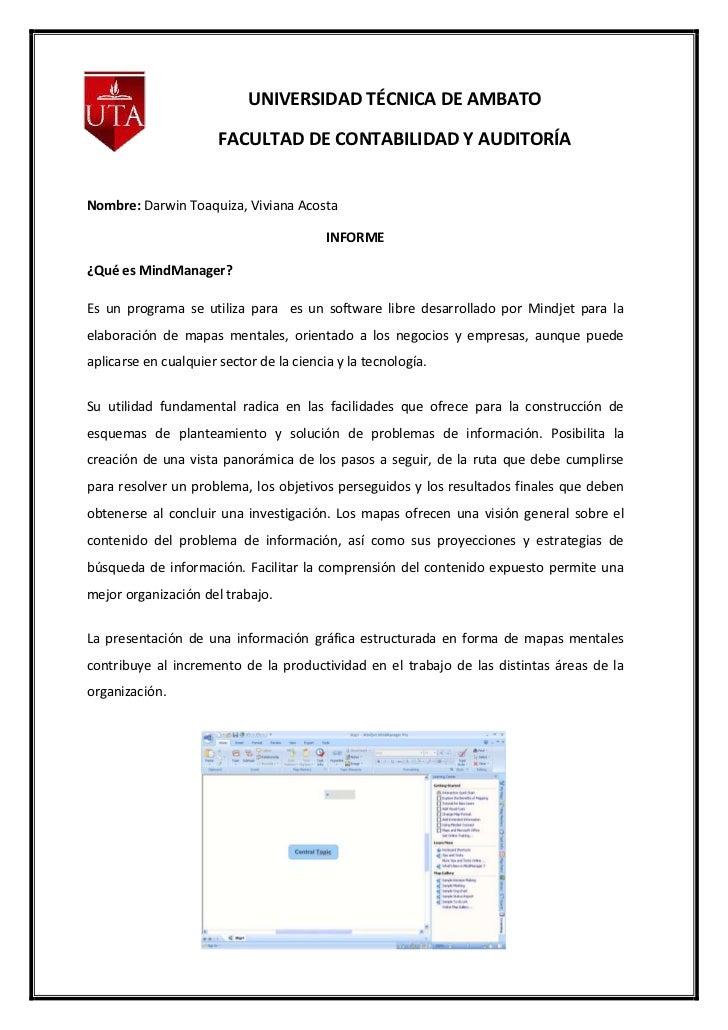 UNIVERSIDAD TÉCNICA DE AMBATO                       FACULTAD DE CONTABILIDAD Y AUDITORÍANombre: Darwin Toaquiza, Viviana A...