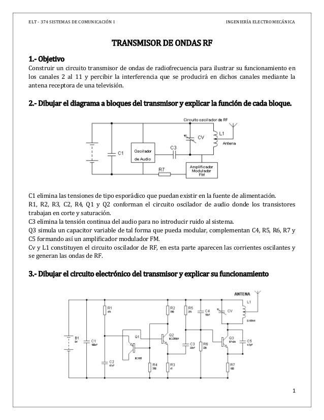 ELT - 374 SISTEMAS DE COMUNICACIÓN I INGENIERÍA ELECTROMECÁNICA 1 TRANSMISOR DE ONDAS RF 1.- Objetivo Construir un circuit...