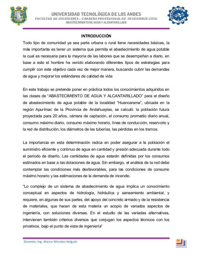 UNIVERSIDAD TECNOLÓGICA DE LOS ANDES FACULTAD DE INGENIERÍA – CARRERA PROFESIONAL DE INGENIERÍA CIVIL ABASTECIMIENTODEAGUA...