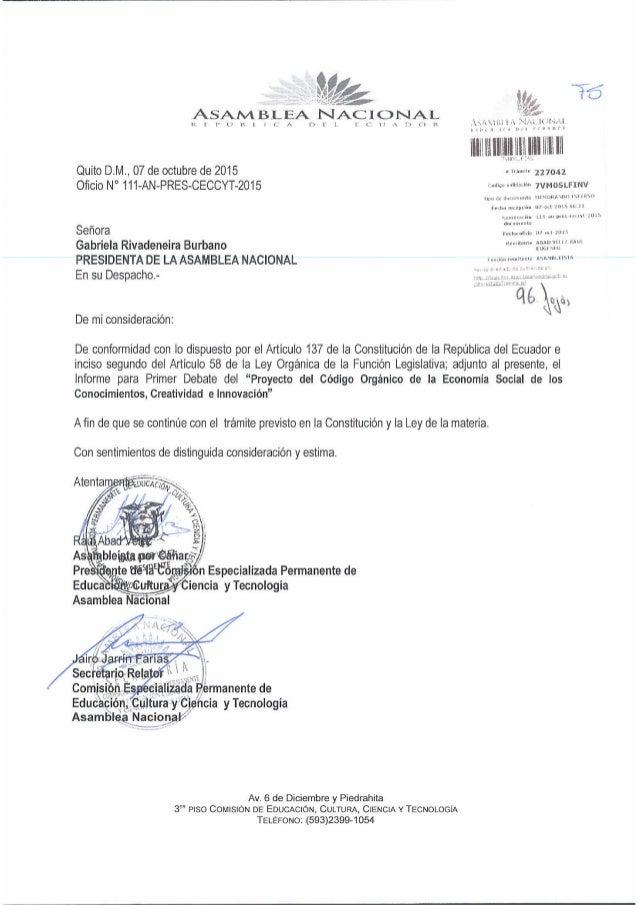 llllllllIlllfllllllllil II III Quito D. M.,  07 de octubre de 2015 ~  221042 Oficio N° 111-AN-PRES-CECCYT-2015  7vM05LFi_NV ...