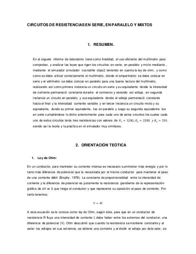 informe 3 circuitos serie paralelo y mixto