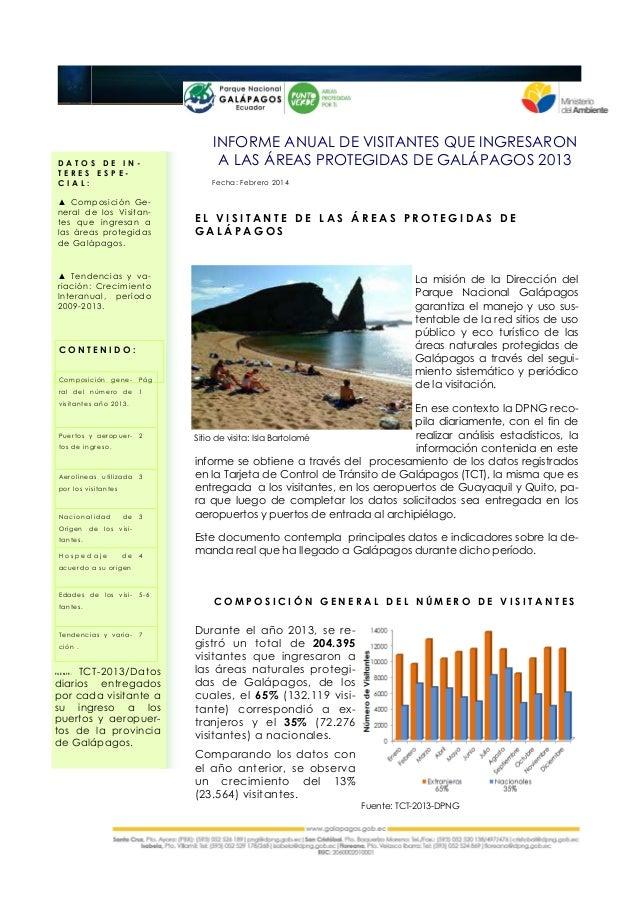 C O N T E N I D O : Composición gene- ral del número de visitantes año 2013. Pág 1 Puertos y aeropuer- tos de ingreso. 2 A...