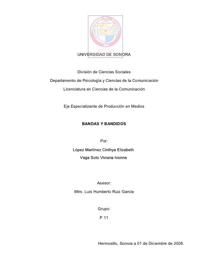 UNIVERSIDAD DE SONORA                  División de Ciencias Sociales  Departamento de Psicología y Ciencias de la Comunica...