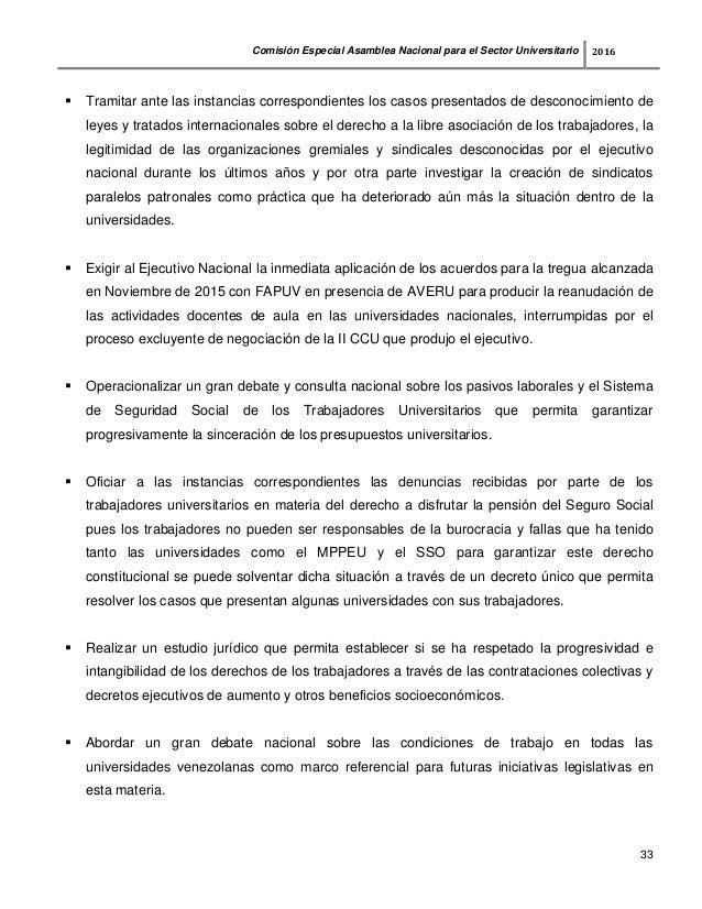 Informe comisión especial de universidades Asamblea Nacional