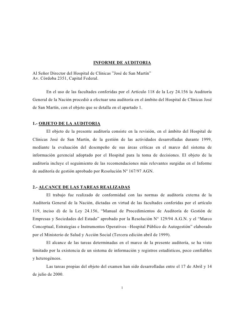 Informe De Auditoria Hospital Clinicas