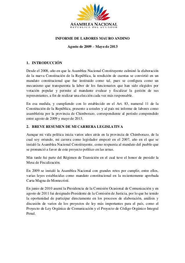 INFORME DE LABORES MAURO ANDINOAgosto de 2009 – Mayo de 20131. INTRODUCCIÓNDesde el 2008, año en que la Asamblea Nacional ...