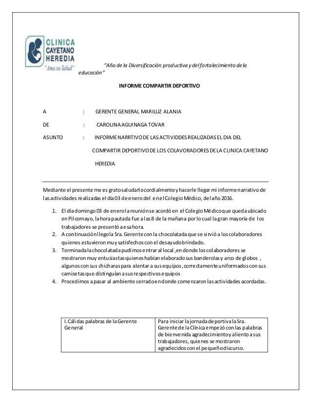 """""""Año de la Diversificación productiva y del fortalecimiento dela educación"""" INFORME COMPARTIR DEPORTIVO A : GERENTE GENERA..."""