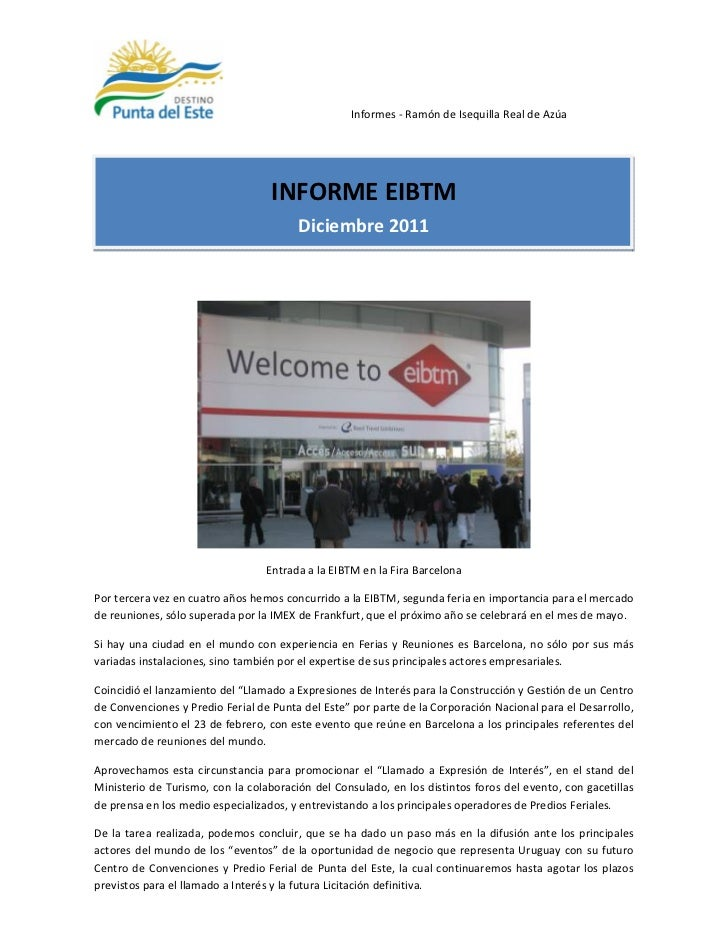 Informes - Ramón de Isequilla Real de Azúa                                   INFORME EIBTM                                ...