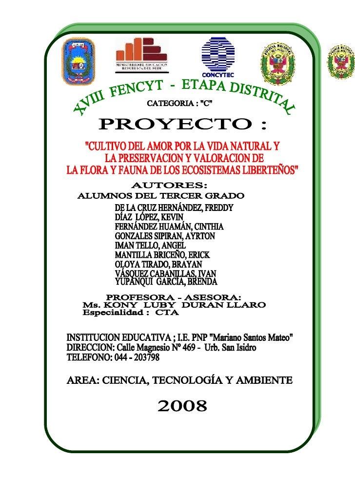 Informe Fencyt, Luby 2008 Etapa Distrital Postales