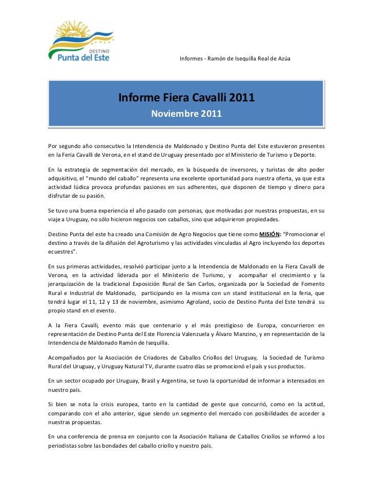 Informes - Ramón de Isequilla Real de Azúa                           Informe Fiera Cavalli 2011                           ...