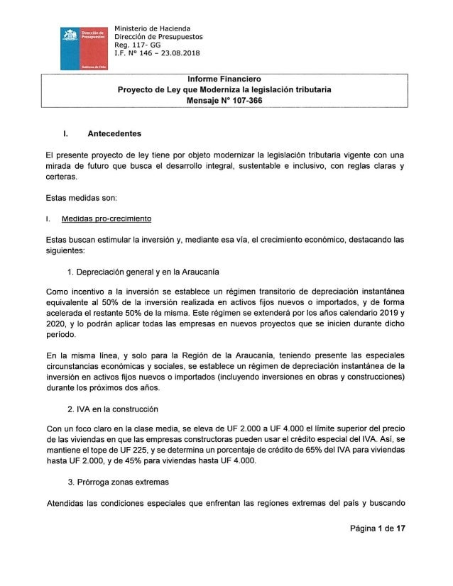 Calendario Iva 2020.Informe Financiero Proyecto De Ley Tributaria