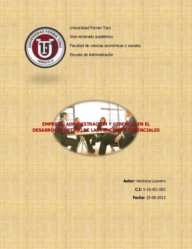 Universidad Fermín ToroVice-rectorado académicoFacultad de ciencias económicas y socialesEscuela de AdministraciónEMPRESA,...