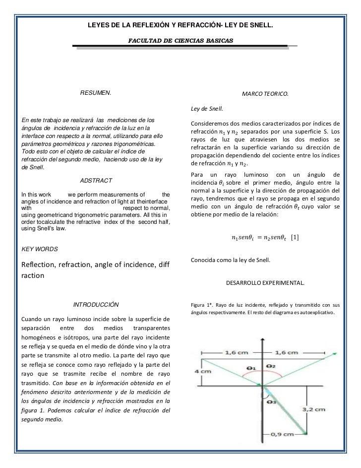 LEYES DE LA REFLEXIÓN Y REFRACCIÓN- LEY DE SNELL.                                           FACULTAD DE CIENCIAS BASICAS  ...