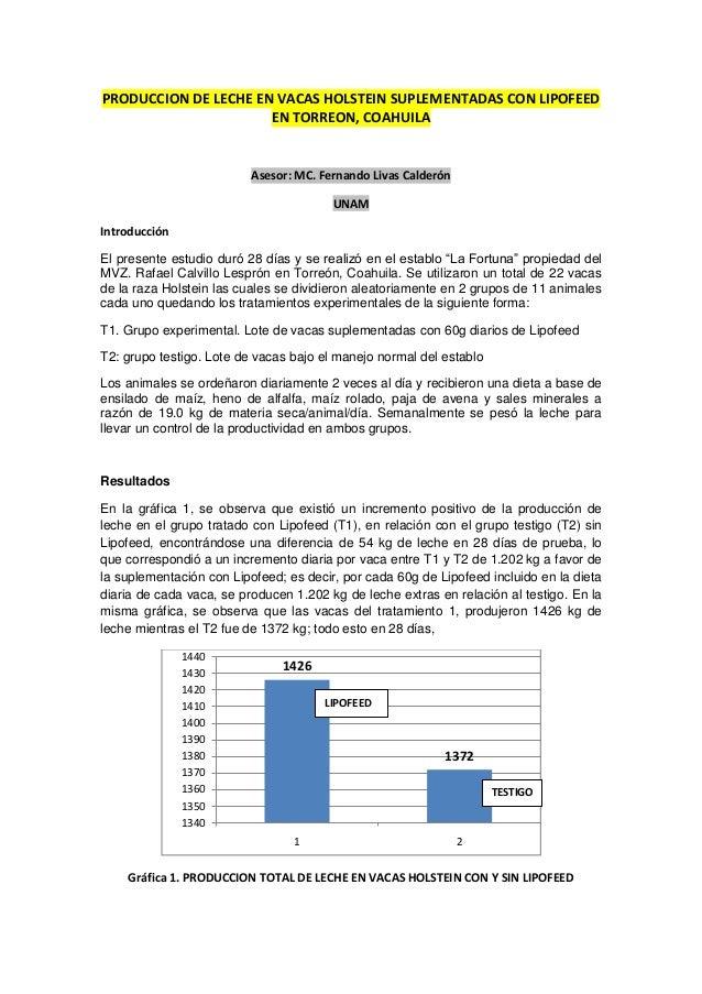 PRODUCCION DE LECHE EN VACAS HOLSTEIN SUPLEMENTADAS CON LIPOFEED EN TORREON, COAHUILA Asesor: MC. Fernando Livas Calderón ...
