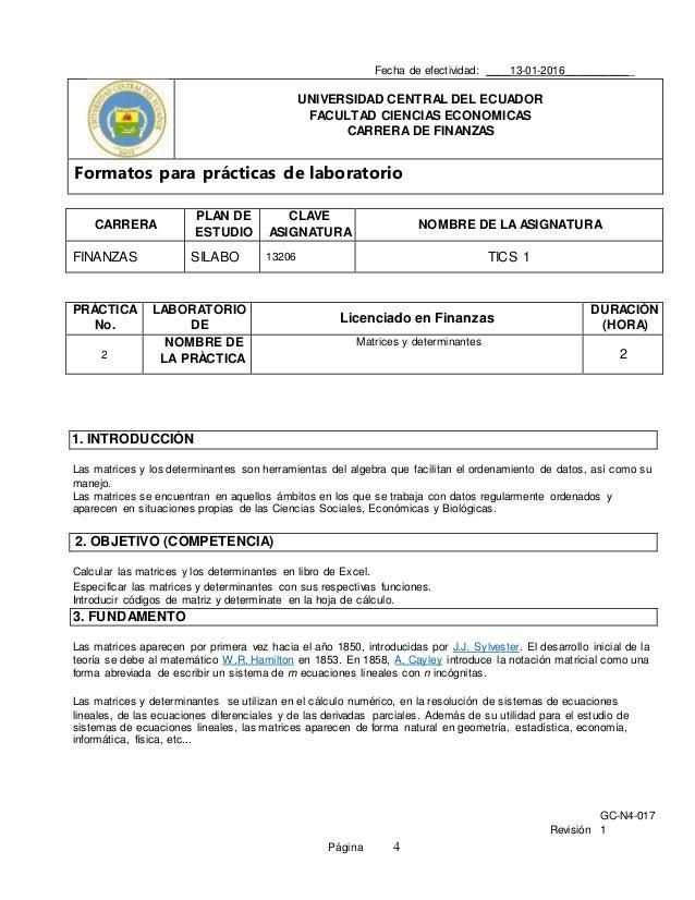 GC-N4-017 Revisión 1 Página 4 Fecha de efectividad: ____13-01-2016___________ UNIVERSIDAD CENTRAL DEL ECUADOR FACULTAD CIE...