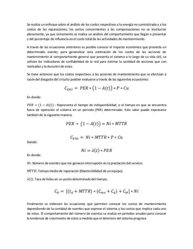 Metodología de evaluación costos de mantenimiento. redes de distribuc…