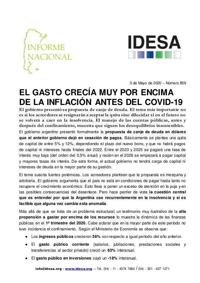 info@idesa.org - www.idesa.org – Tel. (54) - 11 - 4374 7660 / (54) - 351 - 427 1271 3 de Mayo de 2020 – Número 859 EL GAST...