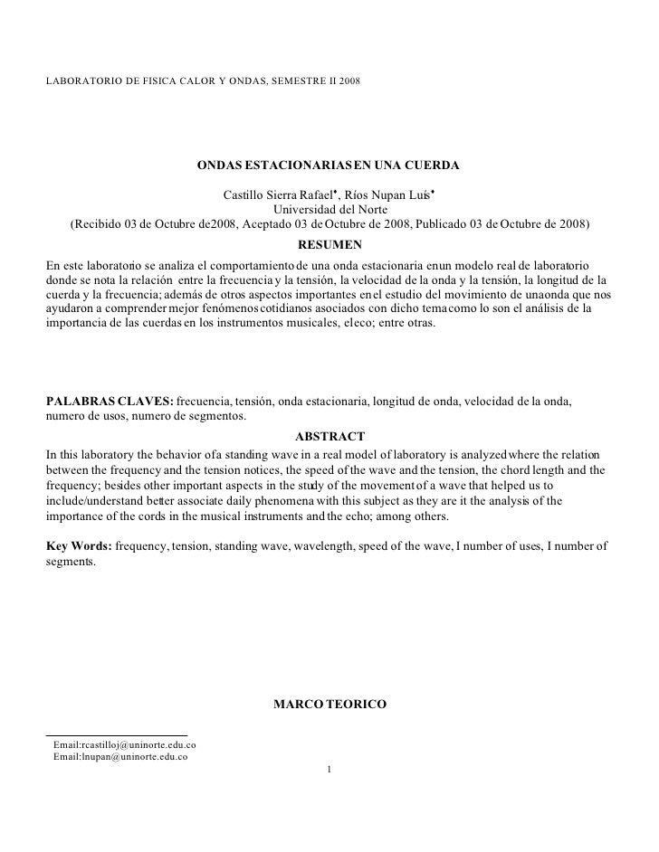 LABORATORIO DE FISICA CALOR Y ONDAS, SEMESTRE II 2008                                         ONDAS ESTACIONARIAS EN UNA C...