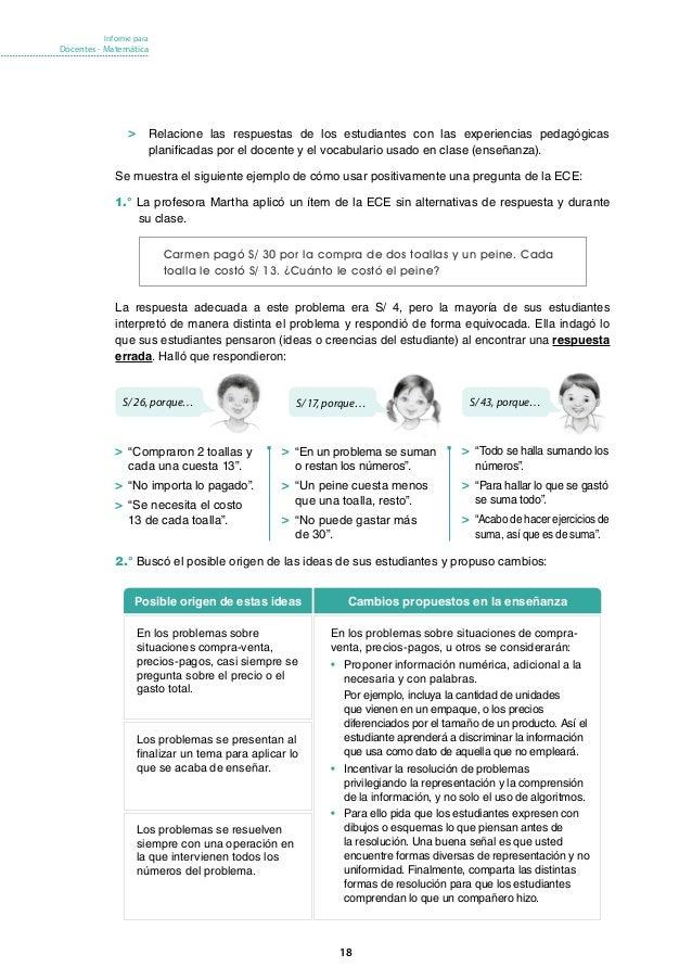 Informe Para Docentes Matem Tica Ece 2016