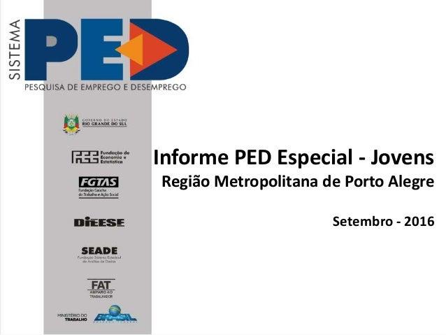Informe PED Especial - Jovens Região Metropolitana de Porto Alegre Setembro - 2016