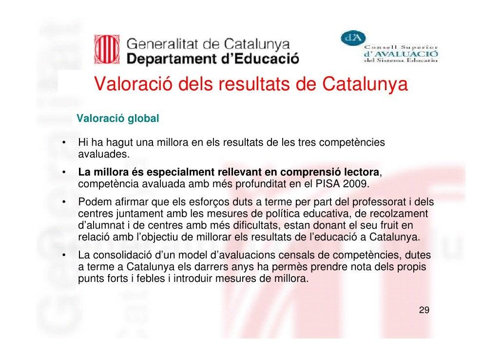 Valoració dels resultats de Catalunya    Valoració global•   Hi ha hagut una millora en els resultats de les tres competèn...