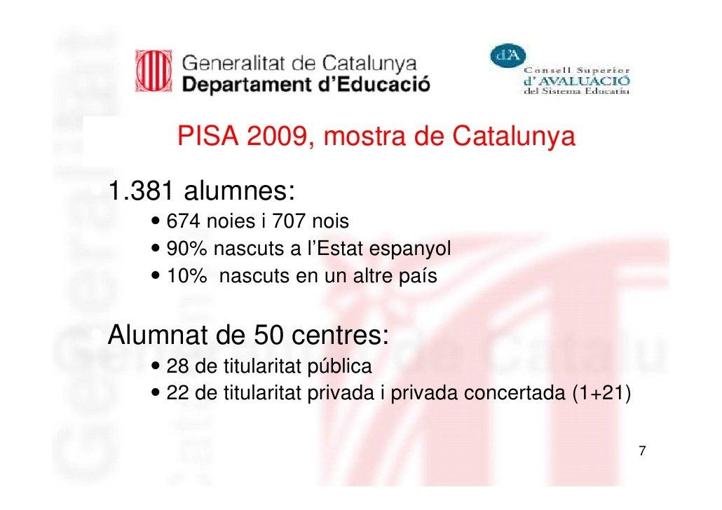 PISA 2009, mostra de Catalunya1.381 alumnes:    674 noies i 707 nois    90% nascuts a l'Estat espanyol    10% nascuts en u...