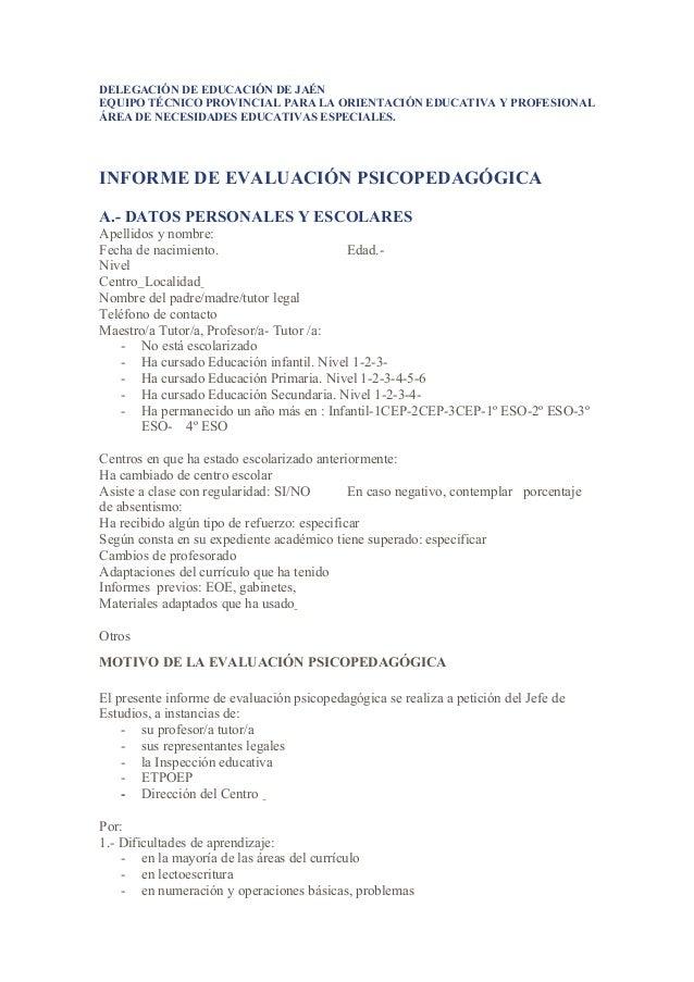 DELEGACIÓN DE EDUCACIÓN DE JAÉN EQUIPO TÉCNICO PROVINCIAL PARA LA ORIENTACIÓN EDUCATIVA Y PROFESIONAL ÁREA DE NECESIDADES ...
