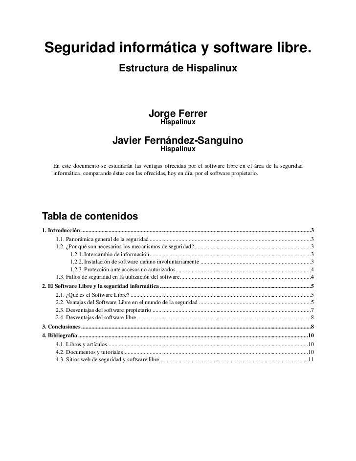 Seguridad informática y software libre.                                                 Estructura de Hispalinux          ...