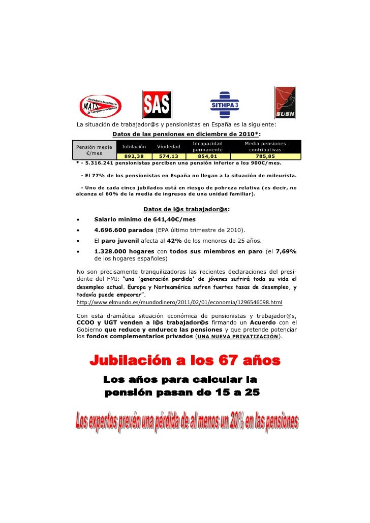 La situación de trabajador@s y pensionistas en España es la siguiente:                Datos de las pensiones en diciembre ...