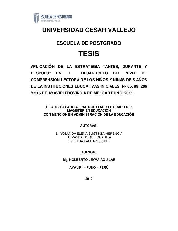"""UNIVERSIDAD CESAR VALLEJO            ESCUELA DE POSTGRADO                        TESISAPLICACIÓN DE LA ESTRATEGIA """"ANTES, ..."""