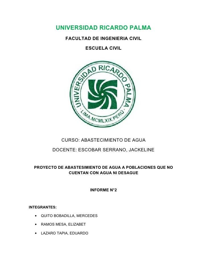 UNIVERSIDAD RICARDO PALMA                FACULTAD DE INGENIERIA CIVIL                         ESCUELA CIVIL               ...
