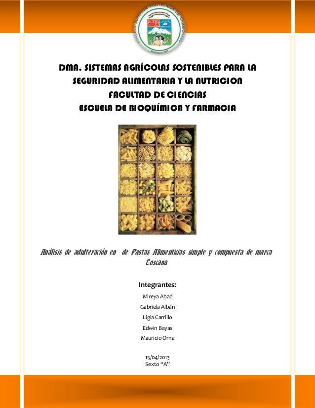 DMA. SISTEMAS AGRÍCOLAS SOSTENIBLES PARA LA SEGURIDAD ALIMENTARIA Y LA NUTRICION FACULTAD DE CIENCIAS ESCUELA DE BIOQUÍMIC...
