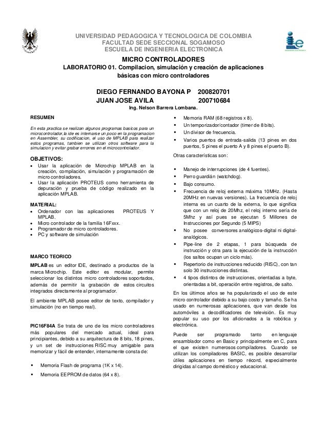 UNIVERSIDAD PEDAGOGICA Y TECNOLOGICA DE COLOMBIA  FACULTAD SEDE SECCIONAL SOGAMOSO  ESCUELA DE INGENIERIA ELECTRONICA  RES...
