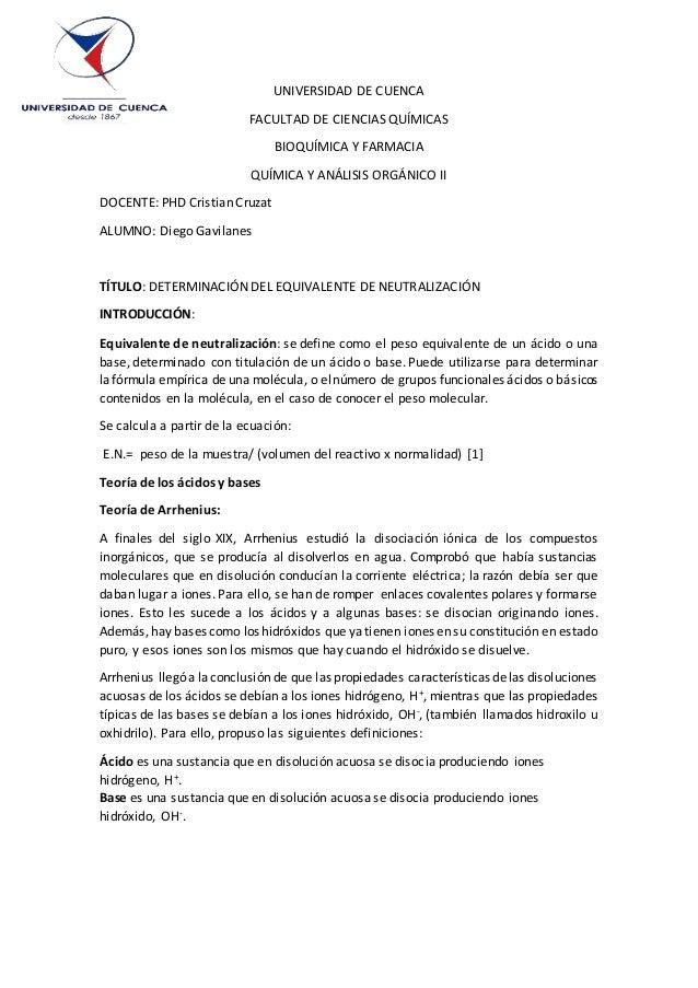 UNIVERSIDAD DE CUENCA FACULTAD DE CIENCIAS QUÍMICAS BIOQUÍMICA Y FARMACIA QUÍMICA Y ANÁLISIS ORGÁNICO II DOCENTE: PHD Cris...