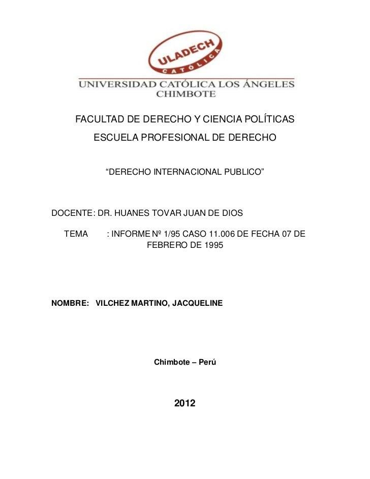 """FACULTAD DE DERECHO Y CIENCIA POLÍTICAS         ESCUELA PROFESIONAL DE DERECHO           """"DERECHO INTERNACIONAL PUBLICO""""DO..."""