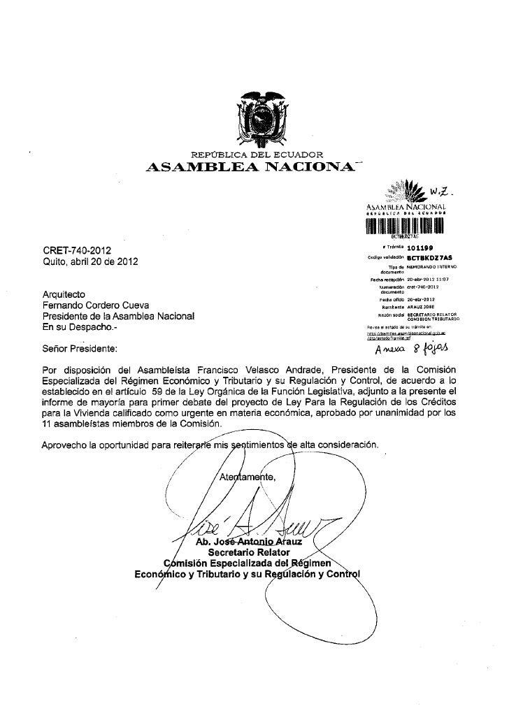 REPÚBLICA DEL       ECUADOR                          ASAMBLEA INACIOINA                                                   ...