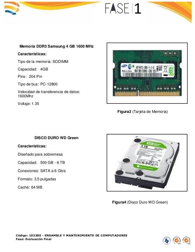 Código: 103380 - ENSAMBLE Y MANTENIMIENTO DE COMPUTADORES Fase: Evaluación Final Figura3 (Tarjeta de Memoria) Figura4 (Dis...