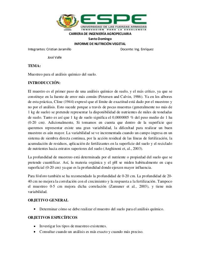 CARRERA DE INGENIERÍA AGROPECUARIA Santo Domingo INFORME DE NUTRICIÓN VEGETAL Integrantes: Cristian Jaramillo Docente: Ing...