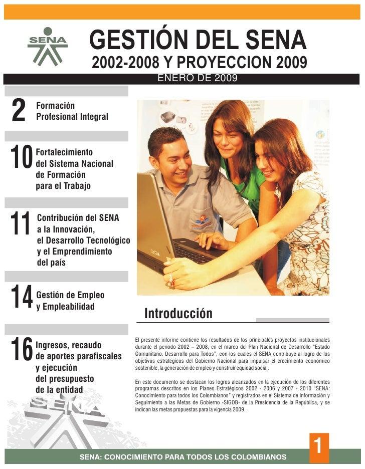 Informe 2009, gestion SENA