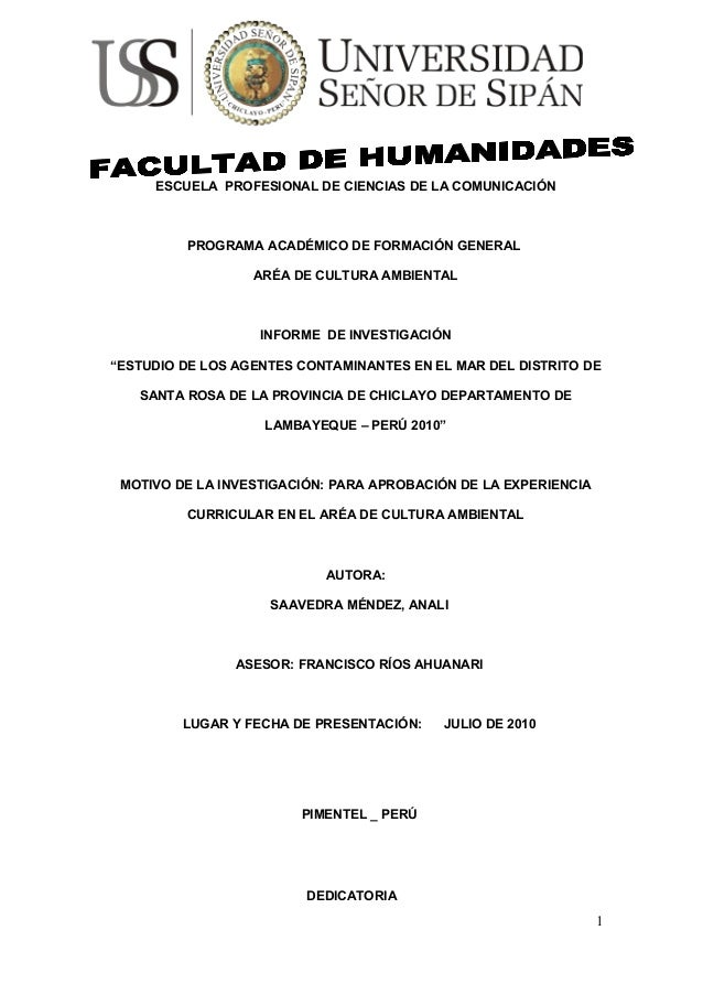 ESCUELA PROFESIONAL DE CIENCIAS DE LA COMUNICACIÓN PROGRAMA ACADÉMICO DE FORMACIÓN GENERAL ARÉA DE CULTURA AMBIENTAL INFOR...