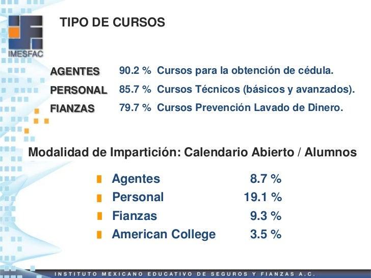 TIPO DE CURSOS   AGENTES     90.2 % Cursos para la obtención de cédula.   PERSONAL    85.7 % Cursos Técnicos (básicos y av...
