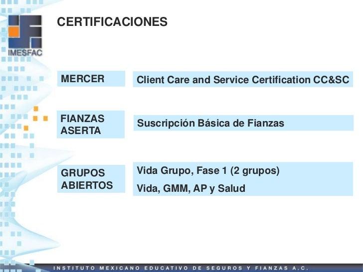 CERTIFICACIONESMERCER     Client Care and Service Certification CC&SCFIANZAS    Suscripción Básica de FianzasASERTAGRUPOS ...