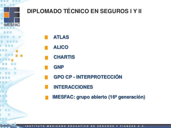 DIPLOMADO TÉCNICO EN SEGUROS I Y II        ATLAS        ALICO        CHARTIS        GNP        GPO CP - INTERPROTECCIÓN   ...