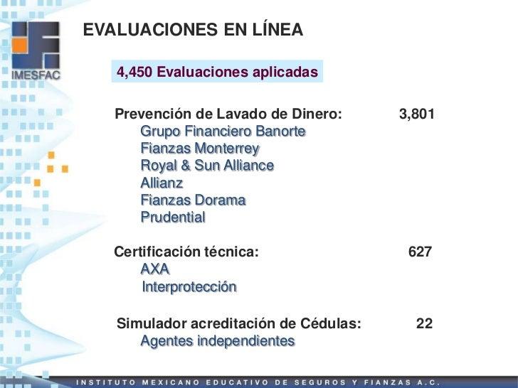 EVALUACIONES EN LÍNEA   4,450 Evaluaciones aplicadas   Prevención de Lavado de Dinero:      3,801      Grupo Financiero Ba...